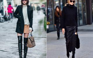 С чем носить сапоги чулки: на каблуке и без, по цвету, стильные советы
