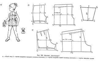 Выкройка летнего комбинезона с шортами для девочки своими руками: от 2 до 5 лет; 10–12 лет