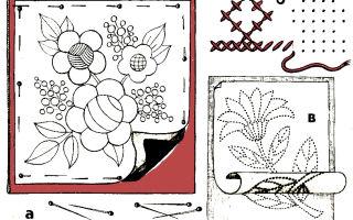 Вышивка нитками мулине: выбор трафарета и перенос рисунка на ткань.