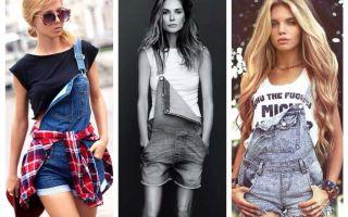 Как носить джинсовый комбинезон на одной лямке: на одно плечо