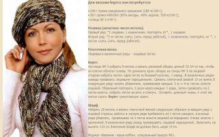 Берет спицами для женщин: пошаговая инструкция по вязанию берета спицами