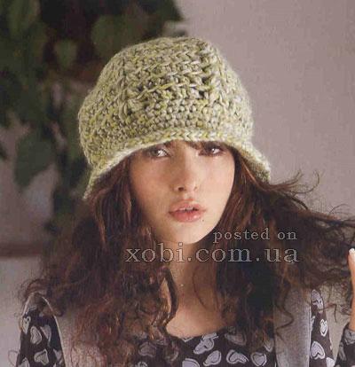 Шляпка клош спицами: шапка клош с ажурными узорами