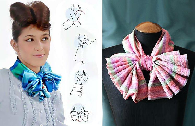 Как завязать платок? 20 способов красиво завязать платок на шее ... | 484x747
