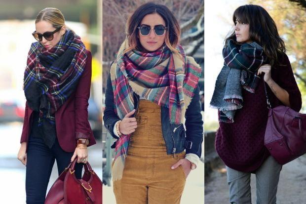 как красиво носить платок с пальто